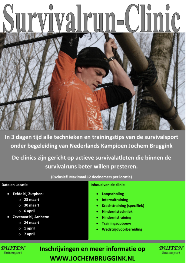 Survivalrun clinics 2013 flyer Jochem Bruggink BUITEN Buitensport